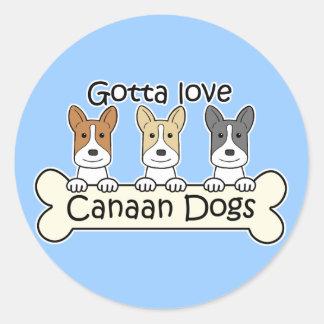 Tre Kanaan hundar Runt Klistermärke