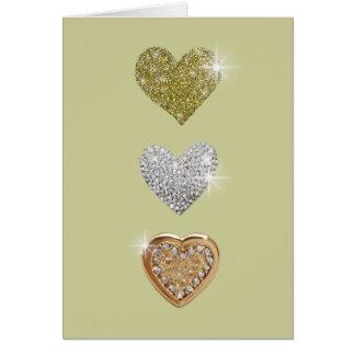Tre kärlekhjärtor hälsningskort