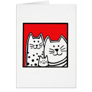 Tre kattungar i rött hälsningskort