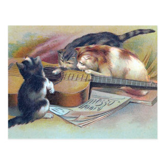 Tre kattungar och en gitarrvintageillustration vykort