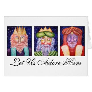 """Tre kungar som konst """"l5At använda, älskar honom"""" Hälsningskort"""