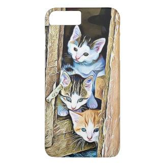 Tre lite kattungar som ut kikar det mobila fodral