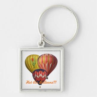 Tre luftballonger fyrkantig silverfärgad nyckelring