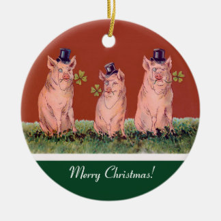 Tre lyckliga grisar - rolig julprydnad julgransprydnad keramik