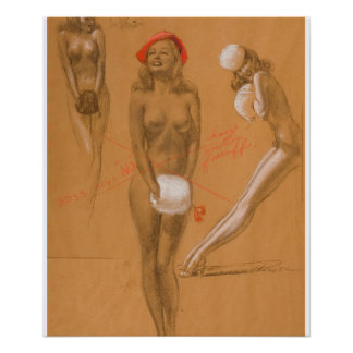 Tre nakenstudier klämmer fast upp konst poster