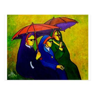 Tre nunnor vid piliero vykort