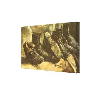 Tre parar av skor vid Vincent Van Gogh Canvastryck