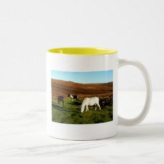 Tre ponnyer på Dartmoor Två-Tonad Mugg
