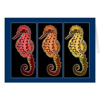 Tre stam- Seahorses på svart plattor Hälsningskort