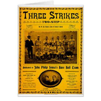Tre strejkor två - kliva vintagenotblad 1902 hälsningskort