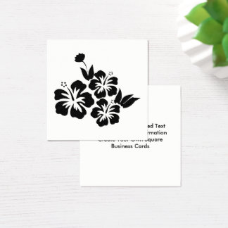 Tre tropiska blommor för svart hibiskus fyrkantigt visitkort