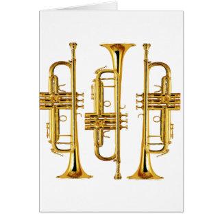 Tre trumpeter hälsningskort