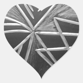 Tre väg hjärtformat klistermärke