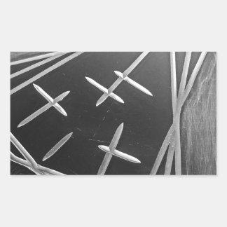Tre väg rektangulärt klistermärke