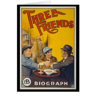 Tre vänner hälsningskort