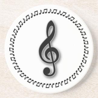 Trebleklavmusik noterar design underlägg för glas