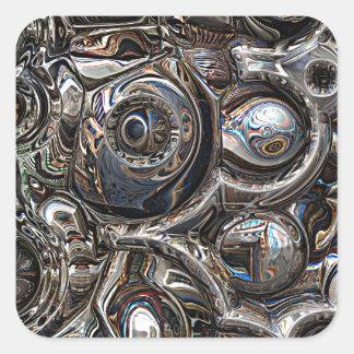 Tredimensionella reflexioner fyrkantigt klistermärke
