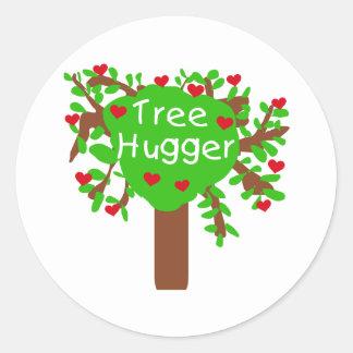 Tree hugger runt klistermärke