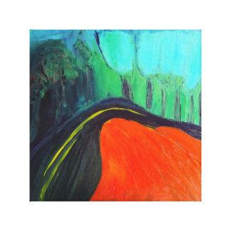 Treelined väg i en kanjon canvastryck