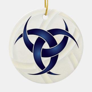 Trefaldig växande måne - blått - 1 julgransprydnad keramik