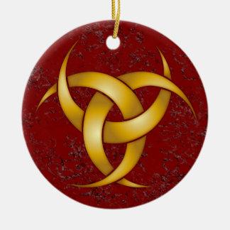 Trefaldig växande måne - guld - 2 julgransprydnad keramik