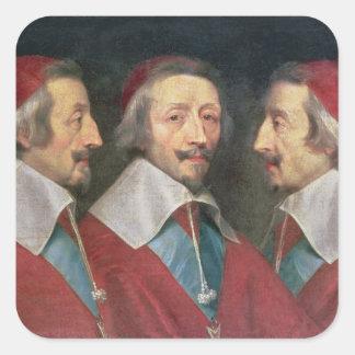 Trefaldigt porträtt av huvudet av Richelieu, 1642 Fyrkantigt Klistermärke