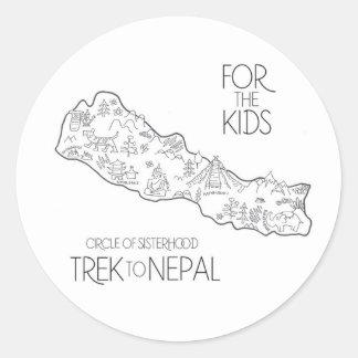 Trek till Nepal - FTK-klistermärke Runt Klistermärke