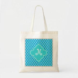 Trendig elegant, coola, modern aquablåttquatrefoil tote bags