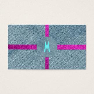 Trendig för Denim för Monogramrosaglitter modern Visitkort