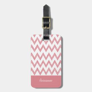 Trendiget ritar rosa sparresicksackar med namn bagagebricka