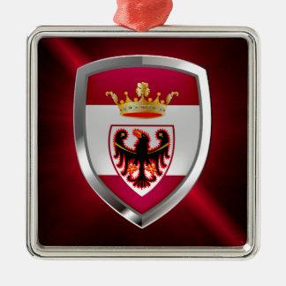 Trento Mettalic Emblem Silverfärgad Fyrkantigt Julgransprydnad