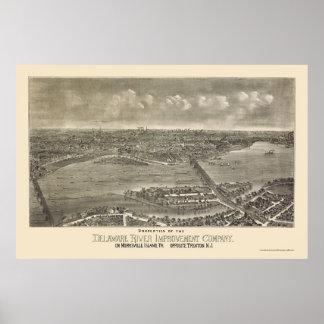Trenton panorama- karta för NJ - 1900 Poster
