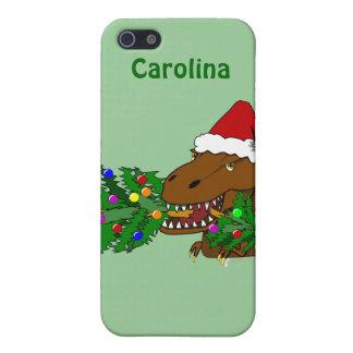 Trex Dinosaur som äter julgrananpassningsbarfodral iPhone 5 Skydd