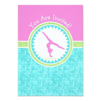 Tri-Pastell färggymnastik med Aqua belägger med 12,7 X 17,8 Cm Inbjudningskort