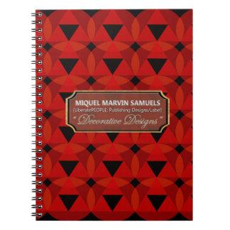 Trianglar cirklar den dekorativa röda svart anteckningsbok med spiral