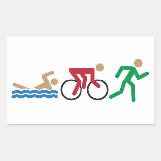 Triathlonlogotypsymboler i färgklistermärkelakan rektangulärt klistermärke
