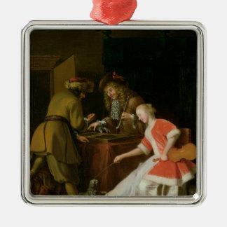 Tric-trac spelare med en dam och henne hund julgransprydnad metall