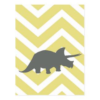 Triceratops på sicksacksparren - gult vykort
