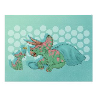 Triceratops som ger blommor vykort