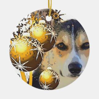 Tricolor Corgi för jul med lökar Julgransprydnad Keramik