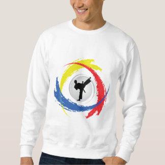 Tricolor Emblem för Karate Långärmad Tröja