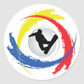 Tricolor Emblem för Snowboarding Runt Klistermärke