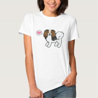Tricolor Phalène för hund hund med en rosa hjärta T Shirts