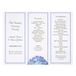 Trifold blåttvanlig hortensiabröllopsprogram brevhuvud