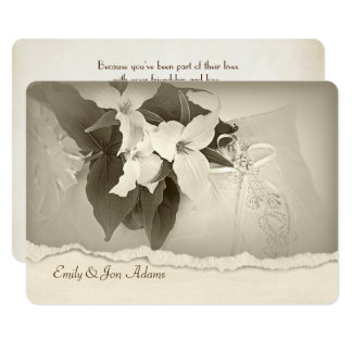 Trilliumen i sepia tonar förnyande för bröllopVow 12,7 X 17,8 Cm Inbjudningskort