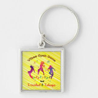 Trinidad och Tobago karneval Fyrkantig Silverfärgad Nyckelring