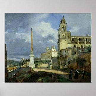 Trinita dei Monti och villan Medici Poster