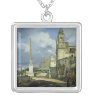 Trinita dei Monti och villan Medici Silverpläterat Halsband