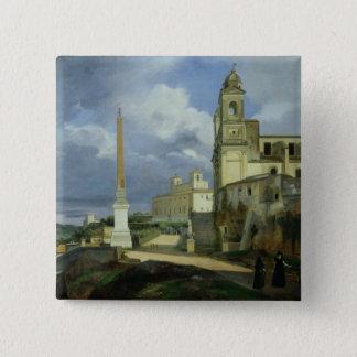Trinita dei Monti och villan Medici Standard Kanpp Fyrkantig 5.1 Cm