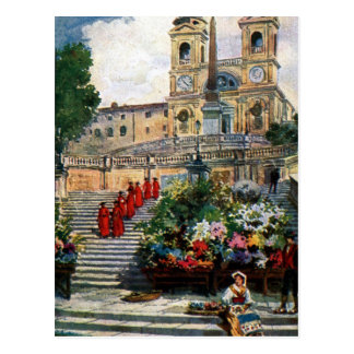 Trinita för vintageRome vattenfärg dei Monti Vykort